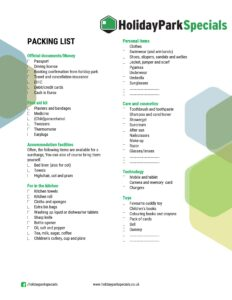 packing list for a holiday park
